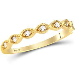 1/10 CTW Round Diamond Twist Stackable Ring 14kt Yellow Gold - REF-18T3K