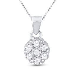 1 CTW Round Diamond Flower Cluster Pendant 14kt White Gold - REF-83F9M