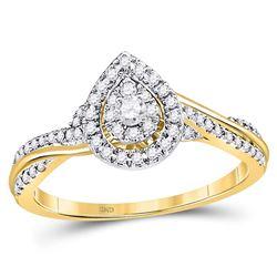1/4 CTW Round Diamond Teardrop Cluster Bridal Wedding Engagement Ring 14kt Yellow Gold - REF-33W6F