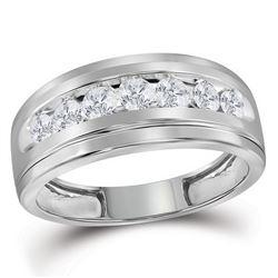 3/4 CTW Mens Round Diamond Wedding Channel-Set Ring 10kt White Gold - REF-60A3N