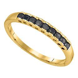 1/4 CTW Princess Black Color Enhanced Diamond Ring 10kt Yellow Gold - REF-7N8Y