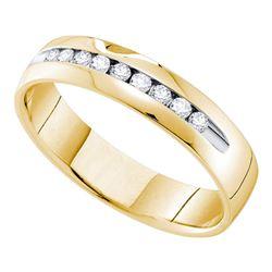 1/2 CTW Mens Round Diamond Single Row Channel-set Wedding Ring 14kt Yellow Gold - REF-65H9W