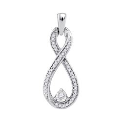 1/6 CTW Round Diamond Infinity Pendant 10kt White Gold - REF-11X9T
