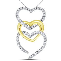 1/6 CTW Round Diamond Triple Cascading Heart Pendant 10kt Two-tone Gold - REF-10M2A