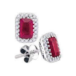 1 & 1/2 CTW Emerald-cut Ruby Diamond Stud Earrings 14kt White Gold - REF-101X9T