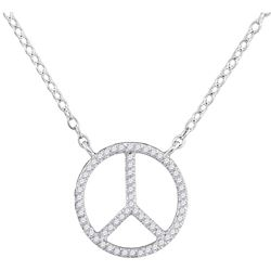 1/6 CTW Round Diamond Peace Sign Circle Pendant 10kt White Gold - REF-14A4N