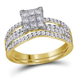 1 CTW Princess Diamond Cluster Bridal Wedding Engagement Ring 14kt Yellow Gold - REF-77A9N