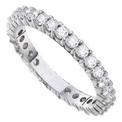 2 CTW Round Pave-set Diamond Eternity Wedding Ring 14kt White Gold - REF-192W3F