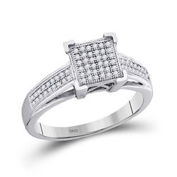 1/5 CTW Round Diamond Square Cluster Ring 10kt White Gold - REF-18A3N