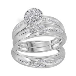 1/3 CTW His & Hers Round Diamond Cluster Matching Bridal Wedding Ring 14kt White Gold - REF-51A3N