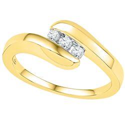 1/8 CTW Round Diamond 3-stone Promise Bridal Ring 10kt Yellow Gold - REF-18T3K