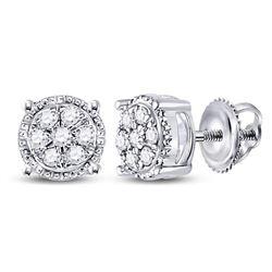 1/6 CTW Round Diamond Flower Cluster Earrings 10kt White Gold - REF-11W9F