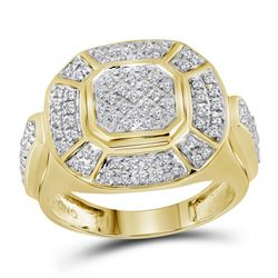 1/2 CTW Mens Round Diamond Circle Cluster Ring 10kt Yellow Gold - REF-35R9H