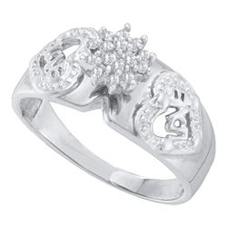 1/10 CTW Round Diamond Heart Cluster Ring 10kt White Gold - REF-18Y3X