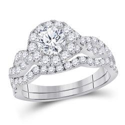 1 & 3/4 CTW Round Diamond Bridal Wedding Engagement Ring 14kt White Gold - REF-234A3N