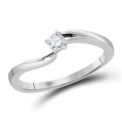 1/10 CTW Round Diamond Solitaire Promise Bridal Ring 10kt White Gold - REF-14X4T