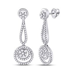1 CTW Round Diamond Circle Cluster Dangle Earrings 10kt White Gold - REF-81N5Y