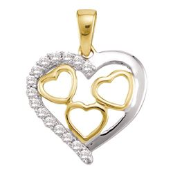 1/5 CTW Round Diamond Two-tone Nested Heart Pendant 10kt Yellow Gold - REF-8K4R