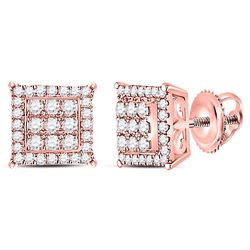 1/4 CTW Round Diamond Square Cluster Earrings 14kt Rose Gold - REF-24N3Y