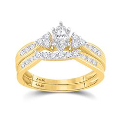 1/2 CTW Marquise Diamond Bridal Wedding Engagement Ring 14kt Yellow Gold - REF-51X3T