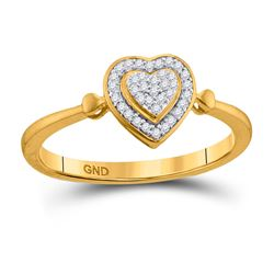 1/10 CTW Round Diamond Heart Cluster Ring 10kt Yellow Gold - REF-11W9F