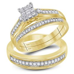 1/2 CTW His & Hers Princess Diamond Cluster Matching Bridal Wedding Ring 10kt Yellow Gold - REF-51N5