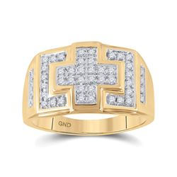 1/3 CTW Mens Round Diamond Cross Cluster Ring 10kt Yellow Gold - REF-33W3F