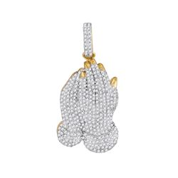 1 CTW Mens Round Diamond Praying Hands Charm Pendant 10kt Yellow Gold - REF-55W5F