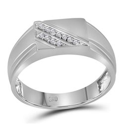 1/12 CTW Mens Round Diamond Diagonal Row Flat Top Fashion Ring 10kt White Gold - REF-16R8H