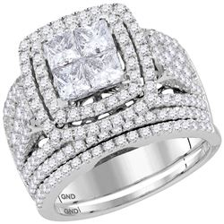 3 CTW Princess Diamond Bridal Wedding Engagement Ring 14kt White Gold - REF-239K9R