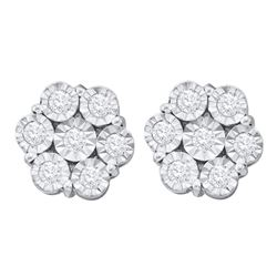 1 CTW Round Illusion-set Diamond Flower Cluster Earrings 10kt White Gold - REF-57W5F