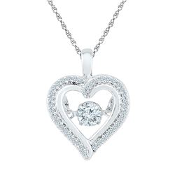 1/4 CTW Round Moving Twinkle Diamond Heart Outline Pendant 10kt White Gold - REF-24Y3X