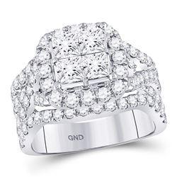 3 CTW Princess Diamond Cluster Bridal Wedding Engagement Ring 14kt White Gold - REF-287W9F