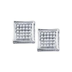 1/8 CTW Mens Round Diamond Square Earrings 10kt White Gold - REF-13X2T
