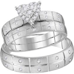 1/4 CTW His & Hers Round Diamond Heart Matching Bridal Wedding Ring 14kt White Gold - REF-57X3T