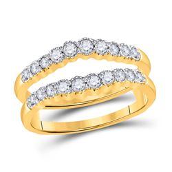 1/2 CTW Round Diamond Wedding Wrap Ring 14kt Yellow Gold - REF-57F3M