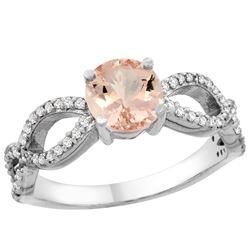 0.95 CTW Morganite & Diamond Ring 14K White Gold - REF-53F3N