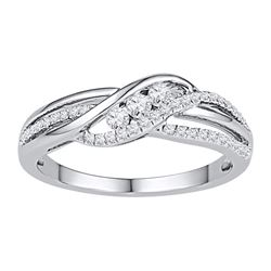 1/4 CTW Round Diamond 3-stone Bridal Wedding Engagement Ring 10kt White Gold - REF-21R5H