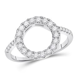 1/2 CTW Round Diamond Wrap Ring 14kt White Gold - REF-40N8Y