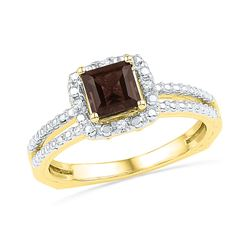 3/4 CTW Princess Lab-Created Smoky Quartz Solitaire Ring 10kt Yellow Gold - REF-20X3T