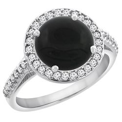 2.76 CTW Onyx & Diamond Ring 14K White Gold - REF-54Y3V