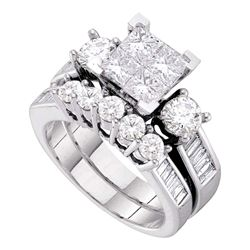 3 CTW Princess Diamond Bridal Wedding Engagement Ring 10kt White Gold - REF-389Y9X