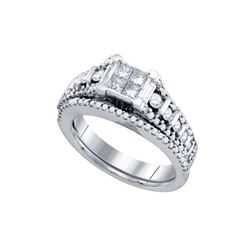 1 CTW Diamond Princess Bridal Wedding Engagement Ring 14kt White Gold - REF-132W3F