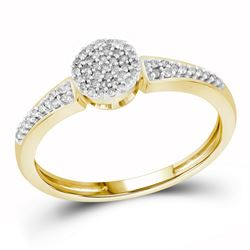 1/6 CTW Round Diamond Circle Cluster Ring 10kt Yellow Gold - REF-13K2R