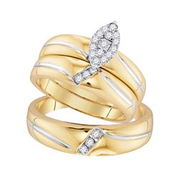 1/4 CTW His & Hers Round Diamond Cluster Matching Bridal Wedding Ring 10kt Yellow Gold - REF-33H6W