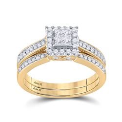 1/2 CTW Princess Diamond Halo Bridal Wedding Engagement Ring 14kt Yellow Gold - REF-63R5H