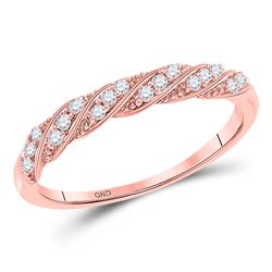 1/8 CTW Round Diamond Stackable Ring 10kt Rose Gold - REF-14R4H