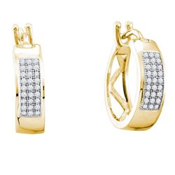 1/6 CTW Round Diamond Hoop Earrings 10kt Yellow Gold - REF-9W6F