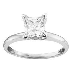 7/8 CTW Princess Diamond Solitaire Bridal Wedding Engagement Ring 14kt White Gold - REF-228M3A