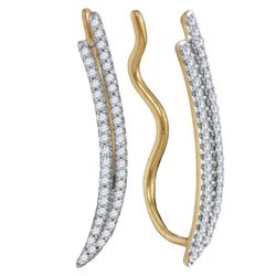 1/4 CTW Round Diamond Double Two Row Climber Earrings 10kt Yellow Gold - REF-18H3W